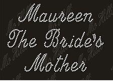 Personalised Rhinestone crystal iron on transfer Wedding The Brides Mother