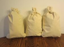"""3 CANVAS COIN BANK DEPOSIT BAGS WITH SEWN-ON TIES 12"""" BY 19"""" MONEY SACKS BAG"""