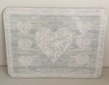 Grey Vintage Heart Placemats Cork Backed Set of 6