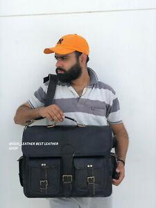 Bag Real Leather Messenger Shoulder Men Mens Laptop Satchel Handbag S Black New