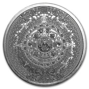 1~OZ .999 SILVER ~ BU GEM ROUND ~ AZTEC CALENDAR ~ 1st SERIES ~ $9.99 NO RESERVE