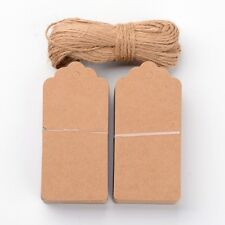 100PCS Jewelry Display Paper Price Tags with Hemp Yarn Peru 95x45x0.4mm Hole 5mm