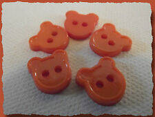 7 BOUTONS Ours orange 12 mm 1,2 cm * 2 trous  Button sewing lot couture mercerie