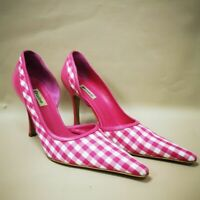 Womens Dune Size UK 8 EU41 Pink And White Gingham Stiletto Heel Shoes Ladies