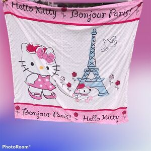 Hello Kitty Bonjour Paris Shower Curtain with 12 Hooks ,Cloth, Pink Sanrio