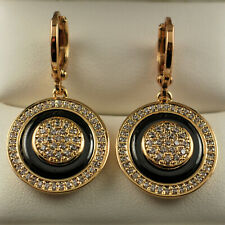 18ct Gold Filled Clear Crystal CZ Round Ceramic Disc Dangle Drop Earrings UK 401