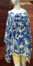 Dark Blue Pom pom Trim Square Neck Floral Print Kaftan Tunic Beach Cover up Top