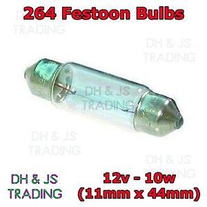 10 x 264 Festoon Bulb 12v 10w (11 x 44mm) S8.5D Interior Light Number Plate Auto