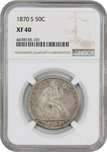 1870-S 50c NGC XF40 - Liberty Seated Half Dollar