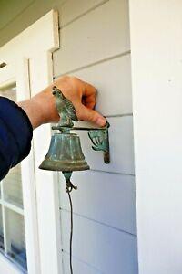 Vintage Patinated Brass Door Bell Hand Rung Wall Fixing Bird+Flowers 80s Working