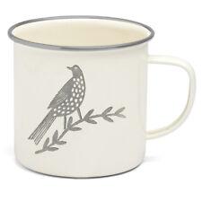 SONGBIRD GREY ENAMEL SINGLE BIRD MUG