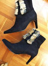 AZUREE boots luxe 100% Cuir fourrure DAIM Noir T 39 Parfait état