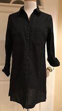 Apt. 9 Button Down Mini Shirtdress Dress Sleeves 100% Cotton Black S NWOT