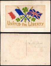 WWI FRANCE ENGLAND EMBROIDERED UNITED for LIBERTY SILK POSTCARD