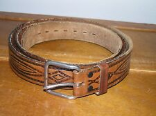 Used Long Wrangler Tooled Chesnut & Black Leather Belt with Brushed Silver Color