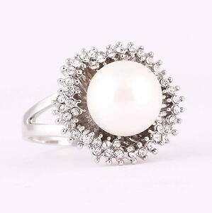 Lady/Women's Alloy 14KT White Gold Filled  Pearl Wedding Ring Gift size 6-10