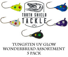 5 Pack Uv Glow Tungsten Ice Fishing Jigs Crappie Bluegill 5mm Wonderbread Assort