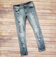 Machine Nouvelle Mode Ripped Light Distressed Destroyed Skinny Jeans Size 11