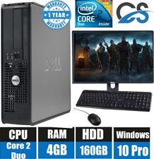 WINDOWS 10 PRO DELL COMPUTER DESKTOP TOWER SET PC 4GB RAM 160GB HD WIFI BARGAIN