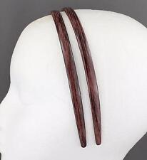 Brown Black headband 2 pack brushed painted look plastic hair grip teeth skinny