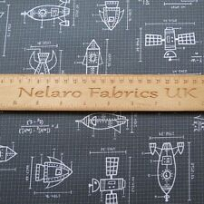FQ Spaced out rockets grey children's fabric by Robert Kaufman
