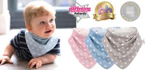 Bibetta baby dribble bibs and bandana bibs in pink blue grey