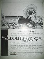 PUBLICITE DE PRESSE DIXOR LA VELOUTY SUR LA PLAGE DESSIN J.-J. LECLERC AD 1929