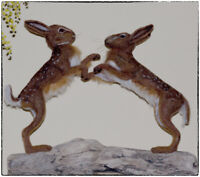 Needle Felted March Hares, Boxing Hares, Lievres - OOAK