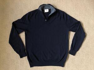 T M Lewin Thomas Mayes Navy Blue Merino Wool Jumper Size Small S