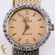 14k Yellow Gold Vintage Women's Omega Watch w/Diamond Bezel Round Dial Quartz