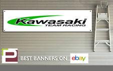Kawasaki Team Racing Motorcycle Banner, XL for Workshop or Garage, Motorsport