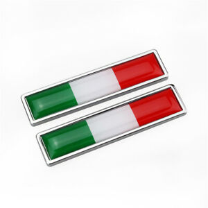 2pcs Metal Italy Italian Flag Car Accessories Fender Door Side Emblems Stickers