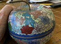 Vintage Larger Chinese Cloisonne Apple Box