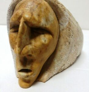 Vintage Six Nations Iroquois Soapstone Carved Sculpture Signed T. Skye