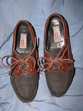 Womens Levi Matt Black Suede Brown Leather Shoes-8M-EC