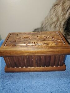 Turkish Puzzle Box - Handcrafted Walnut Wood - featuring  DOLPHINS