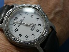 TIMEX EXPEDITION INDIGLO T G9 BLACK BAND SILVER tone Watch fresh BATTERY 620 A20