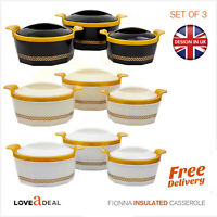 Fiona Casserole Insulated Pot Cold Hot Food Serving Dish Quality Large Set of 3