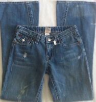 TRUE RELIGION Joey Big T Boot Cut Blue Jeans Size 28 Distressed Mid-Rise CUTE!