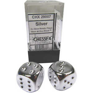 Pair of Chessex Silver Metallic Plated 16mm d6 Six Sided Dice Block CHX 29007