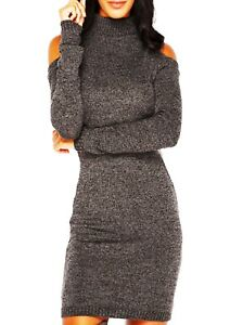 New Ladies Celeb HIGH Neck Turtle Knitted COLD CUT OUT Shoulder Dress TOP JUMPER