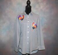 Las Olas Women's Button Down Shirt Size Small Chicken Roaster Black White Checks