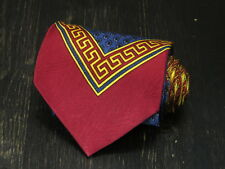 Gianni Versace Italy Silk red blue yellow barocco floral neck tie