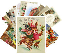 Postcards Pack [24 cards] Vintage Christmas Cute Animals Kitten Deer Bird CE5008