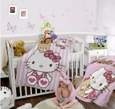 HELLO KITTY REVERSIBLE BABY TODDLER BED DUVET COVER & PILLOWCASE SET-100% COTTON