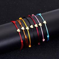Women Multicolor Rope Bangle Lucky Bracelets Cord String Heart Bracelet Jewelry