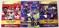 (3) 2018 LAMAR JACKSON COLL & NFL GOLD PLATINUM ROOKIE CARDS BALTIMORE RAVENS!
