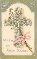 Easter~Lily of the Valley Cross~Pink Ribbon~Lime Green~Silver Art Nouveau~Emboss