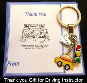 Driving Instructor Thank You Gift  Key Ring Gift on Card & in Organza gift Bag 2