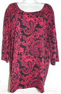 NWOT Red/Black Paisley Print Catherines 3/4 Sleeve Top - 2X